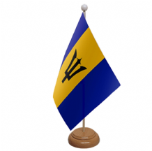 BARBADOS - TABLE FLAG WITH WOODEN BASE